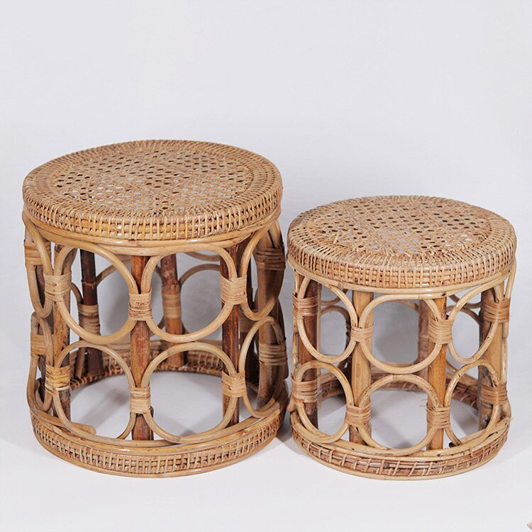Rattan flower stand hand woven Plant stand for Home Gardening decor wooden Rattan stool chair