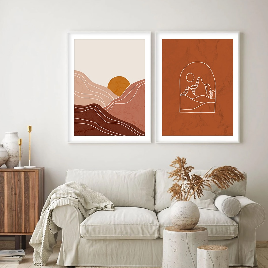Trendy Abstract Mountain Sun Camel Color Boho Style Canvas Painting Wall Art Prints Pictures Posters for Living Room Home Decor